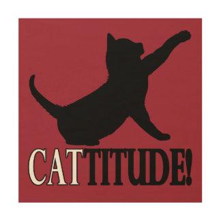 Cattitude con el gato en silueta cuadro de madera