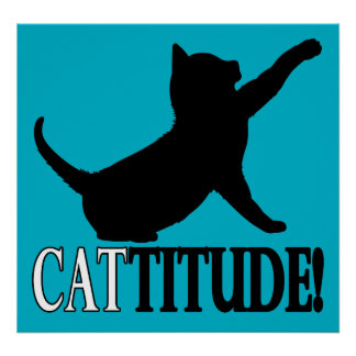 Cattitude con el gato en silueta póster