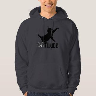 Cattitude con el gato en silueta suéter con capucha