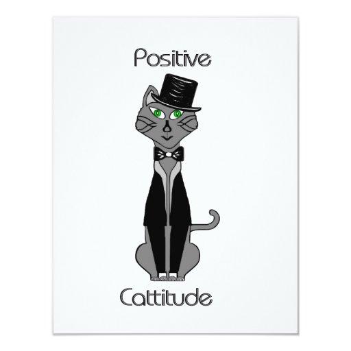 """Cattitude positivo invitación 4.25"""" x 5.5"""""""