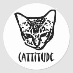 Cattitude Round Stickers