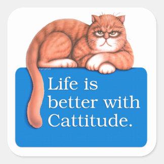 Cattitude Square Stickers