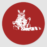 Cattitude un gato con el pegatina del pegamento de
