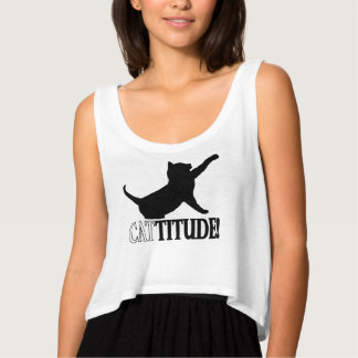 Cattitude with Cat in Silhouette Tank Top