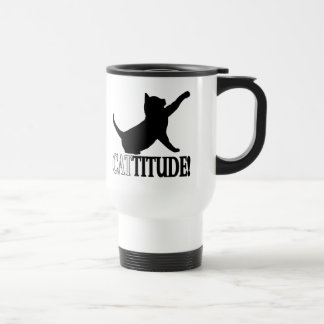 Cattitude with Cat in Silhouette Travel Mug
