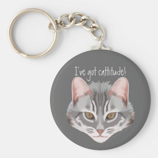 Cattitude (with text) Keychain