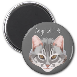 Cattitude (with text) Magnet