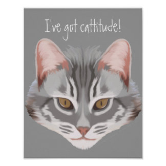 Cattitude (with Text) Print