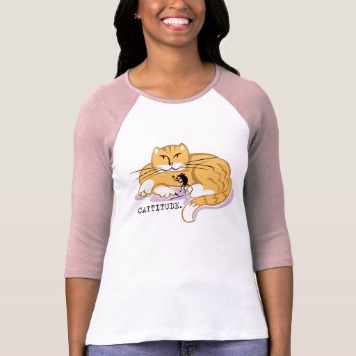 Cattitude y ratón camiseta