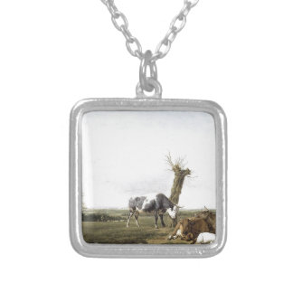 Cattle and Goats in a Meadow Adriaen van de Velde Square Pendant Necklace