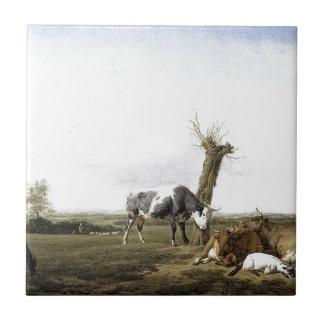 Cattle and Goats in a Meadow Adriaen van de Velde Tile