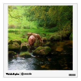 Cattle at Golitha Falls River Fowey Cornwall UK Wall Graphic