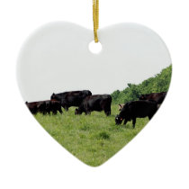 Cattle Black Angus Ceramic Ornament