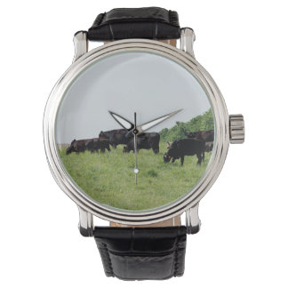 Cattle Black Angus Leather Wrap Watch