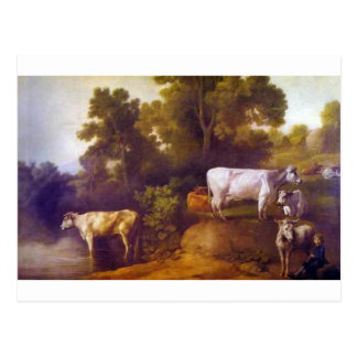 Cattle by a Stream by George Stubbs Postcard