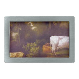 Cattle by a Stream by George Stubbs Rectangular Belt Buckle