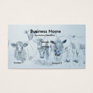 Cattle Cow Pencil Drawing Farmer Business Cards