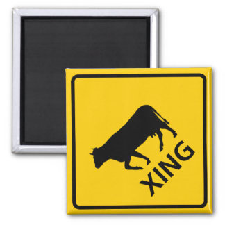 Cattle Crossing Highway Sign 2 Inch Square Magnet