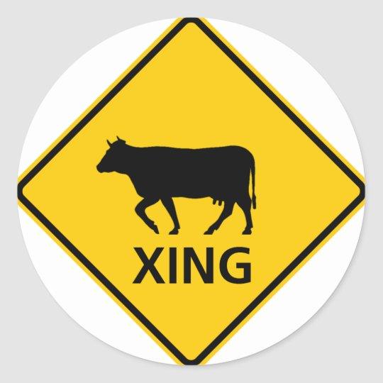 Cattle Crossing Highway Sign Classic Round Sticker