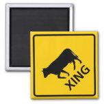 Cattle Crossing Highway Sign Fridge Magnet