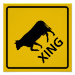 Cattle Crossing Highway Sign Print