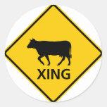 Cattle Crossing Highway Sign Round Sticker