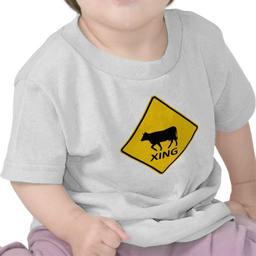 Cattle Crossing Highway Sign Shirts