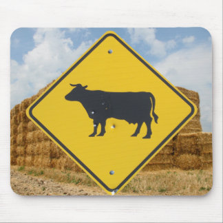Cattle Crossing Sign, Baled Hay, Blue Sky, Clouds Mouse Pad