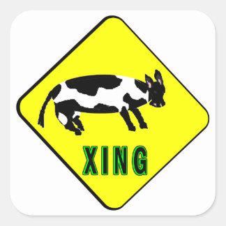 Cattle Crossing Square Sticker