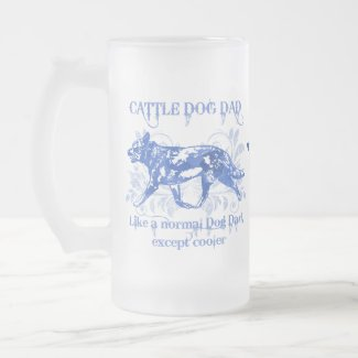 Cattle Dog Dad Blue Watercolor Add a Name Frosted Glass Beer Mug