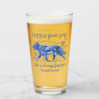Cattle Dog Dad Blue Watercolor Add a Name Glass