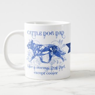 Cattle Dog Dad Blue Watercolor Giant Coffee Mug