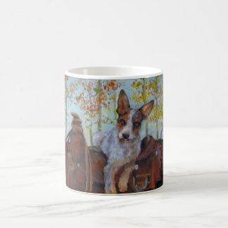 Cattle dog on saddle coffee mug