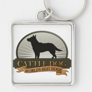 Cattle Dog Silver-Colored Square Keychain