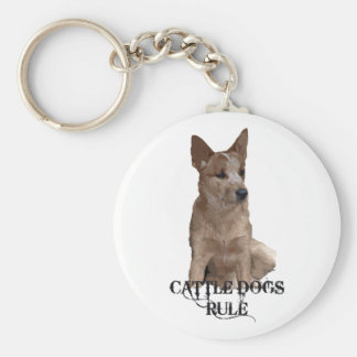 Cattle Dogs Rule Basic Round Button Keychain