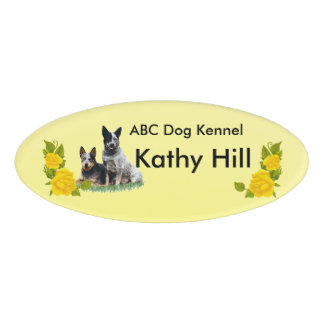"""Cattle Dogs & Yellow Roses Oval Nameplate 3""""X2"""" Name Tag"""