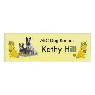 """Cattle Dogs & Yellow Roses Sm Rect Name Tag 3""""X1"""""""