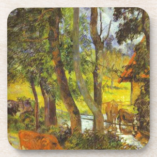Cattle drinking by Paul Gauguin Beverage Coaster
