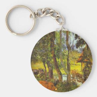 Cattle drinking by Paul Gauguin Basic Round Button Keychain