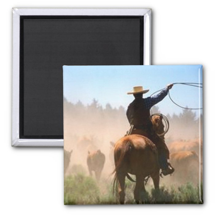 Cattle Drive 2 Inch Square Magnet