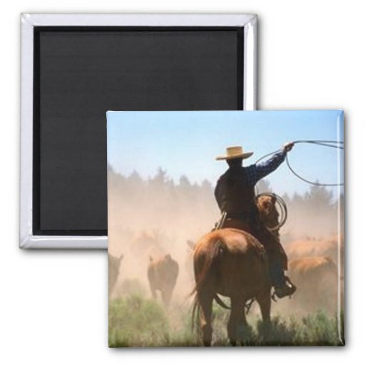Cattle Drive Fridge Magnet