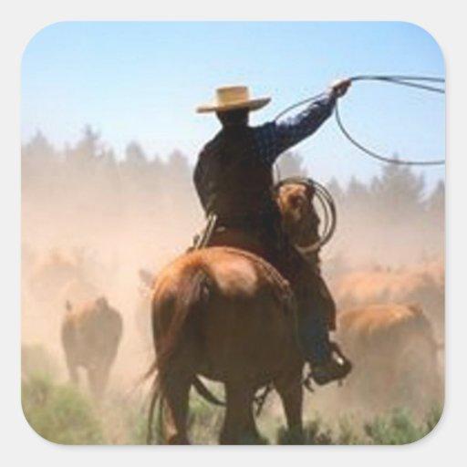 Cattle Drive Square Sticker