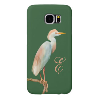 Cattle Egret on a Limb Customized Monogram Samsung Galaxy S6 Case
