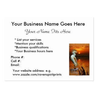 Cattle Egret Profile, Biz or ACEO Trading Cards Large Business Card