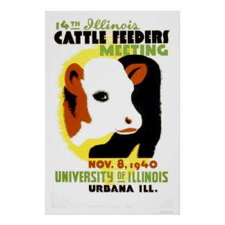 Cattle Feeders Illinois 1940 WPA Poster