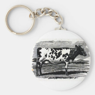 Cattle from 19th century engraving basic round button keychain