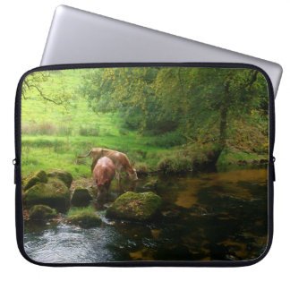 Cattle Golitha Falls River Fowey Cornwall England Laptop Sleeve