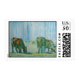 Cattle grazing in hot sun painting postage