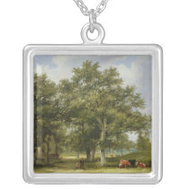 Cattle Grazing Silver Plated Necklace