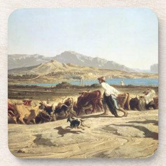 Cattle herding near Marseilles, 1853 (oil on canva Coaster